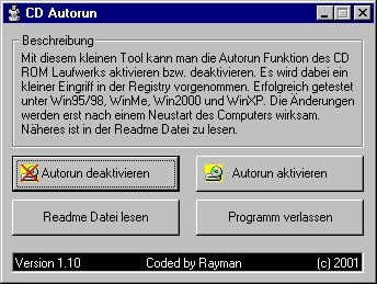 Screenshot vom Programm: CD Autorun